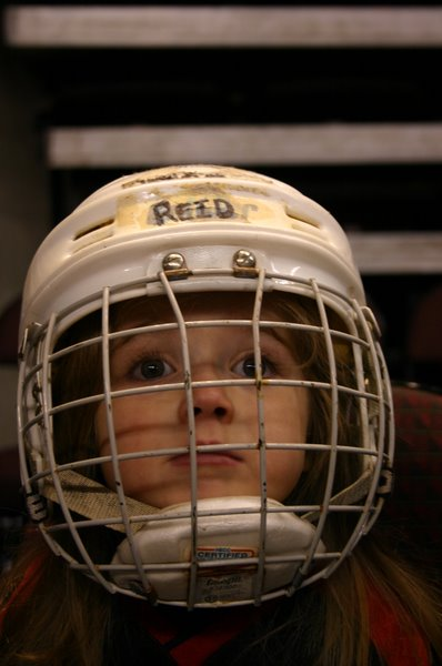 Reid with hockey helmet on