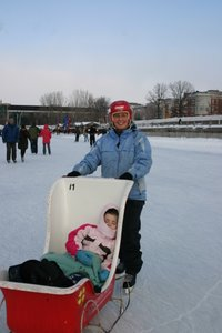 Reid in sleigh on the Rideau Canal