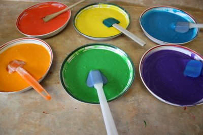 Six colours of cake batter