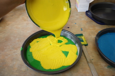 Pouring a second colour into the pan